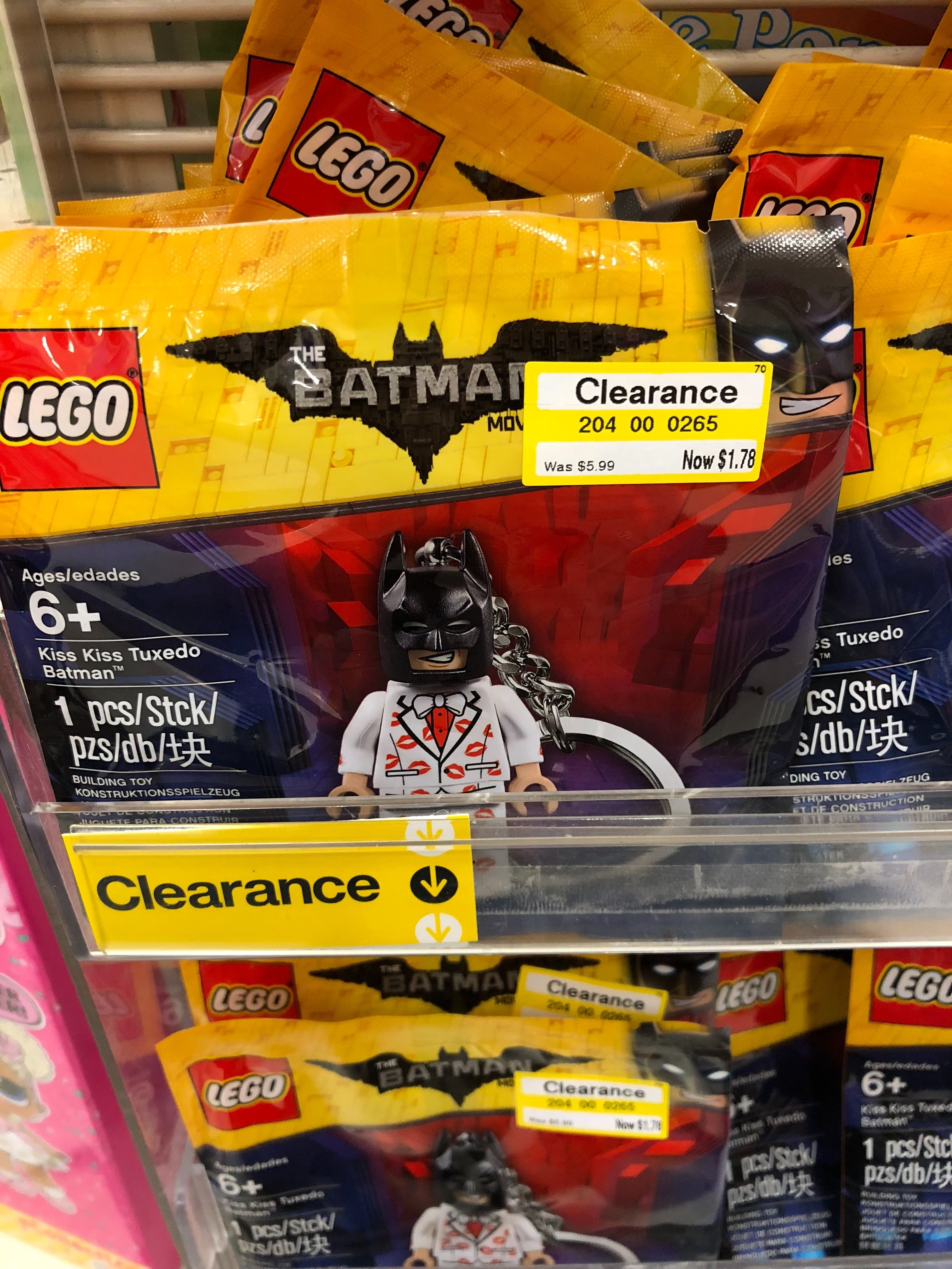 LEGO BATMAN MOVIE Kiss Kiss Tuxedo Key Chain clearance $1.78 in Target B&M (YMMV)