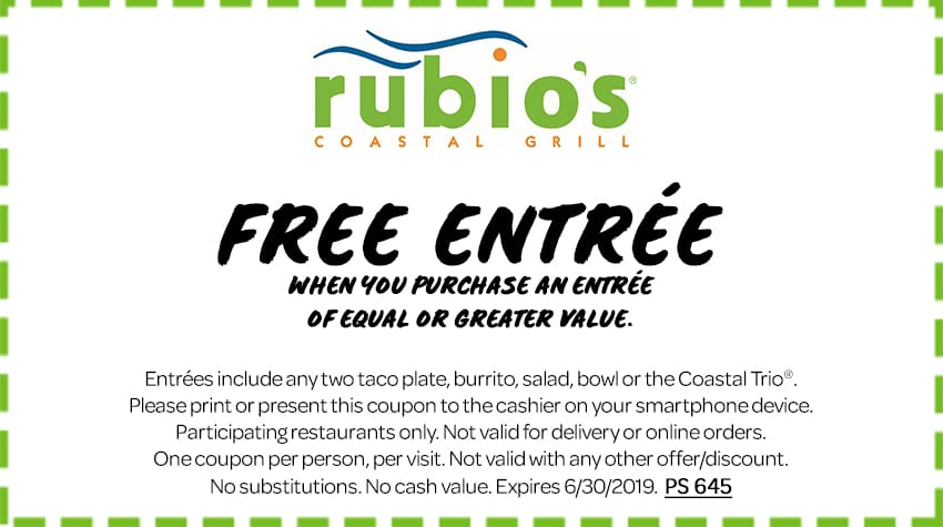 picture about Papa Murphy's Printable Coupon identify Rubios Coastal Grill Cafe: Any Entrees B1G1 Free of charge through