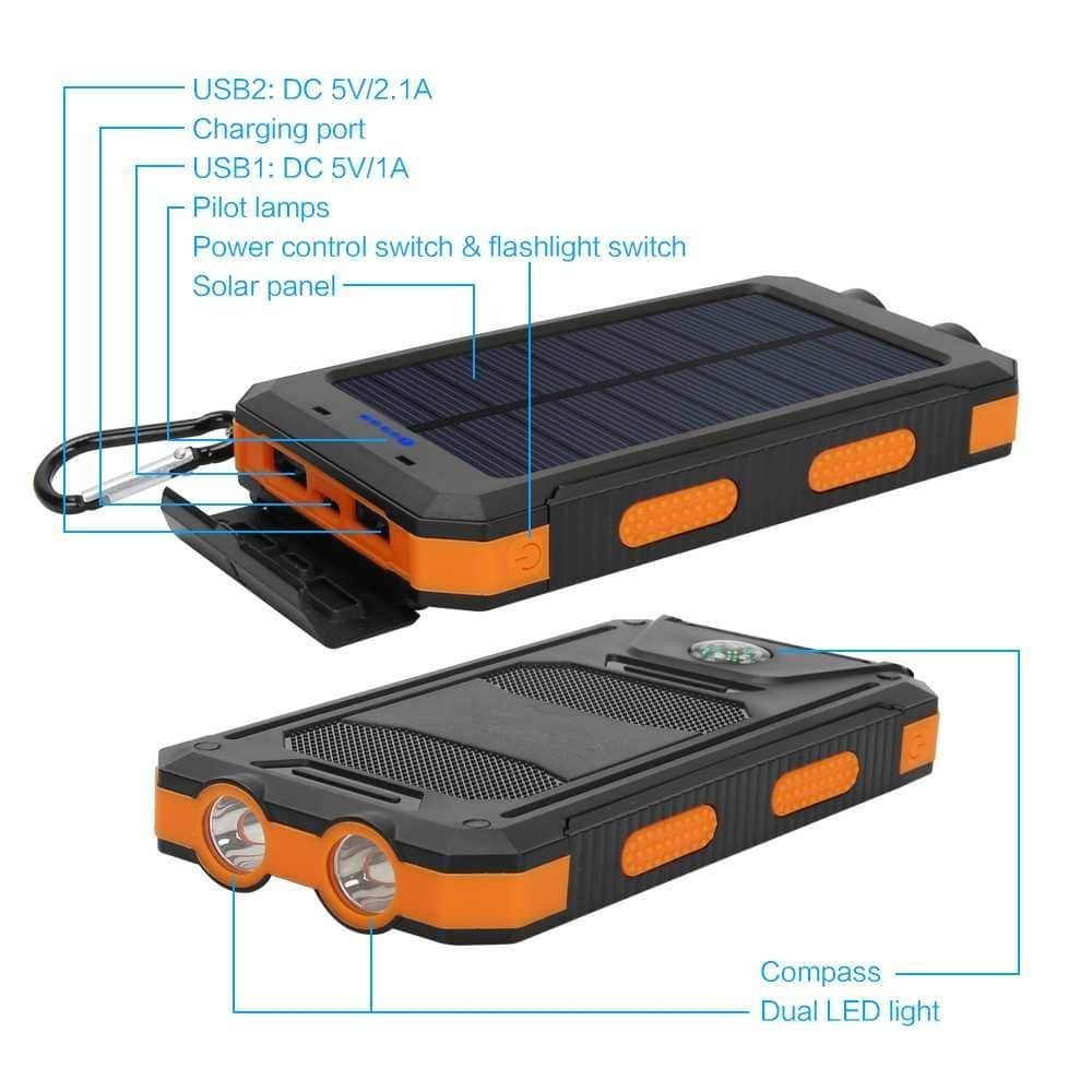 Solar Charger, 10000 mAh Solar Power Bank With Dual USB And 2 LED Light Carabiner +free shipping $13.99