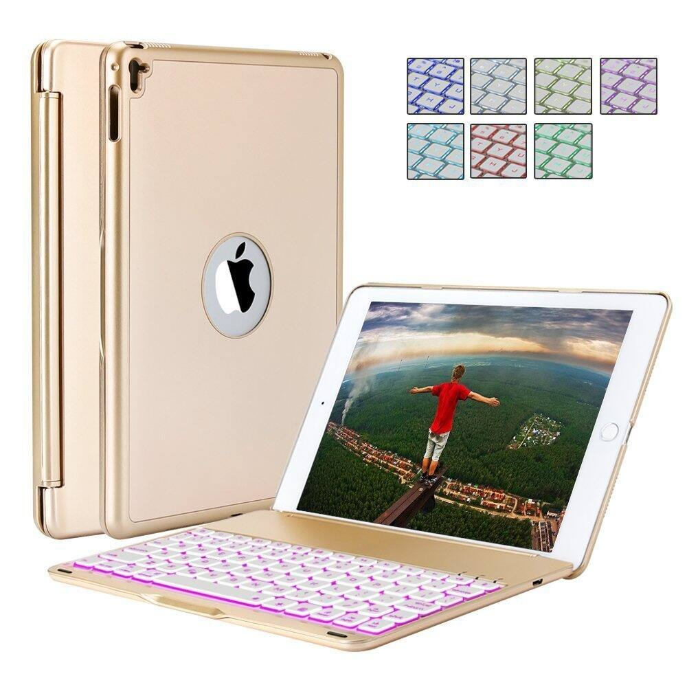 iPad Pro 9.7 Inches Case, Bluetooth Wireless Keyboard Folio With 7 Backlit Colors+free shipping $27.99