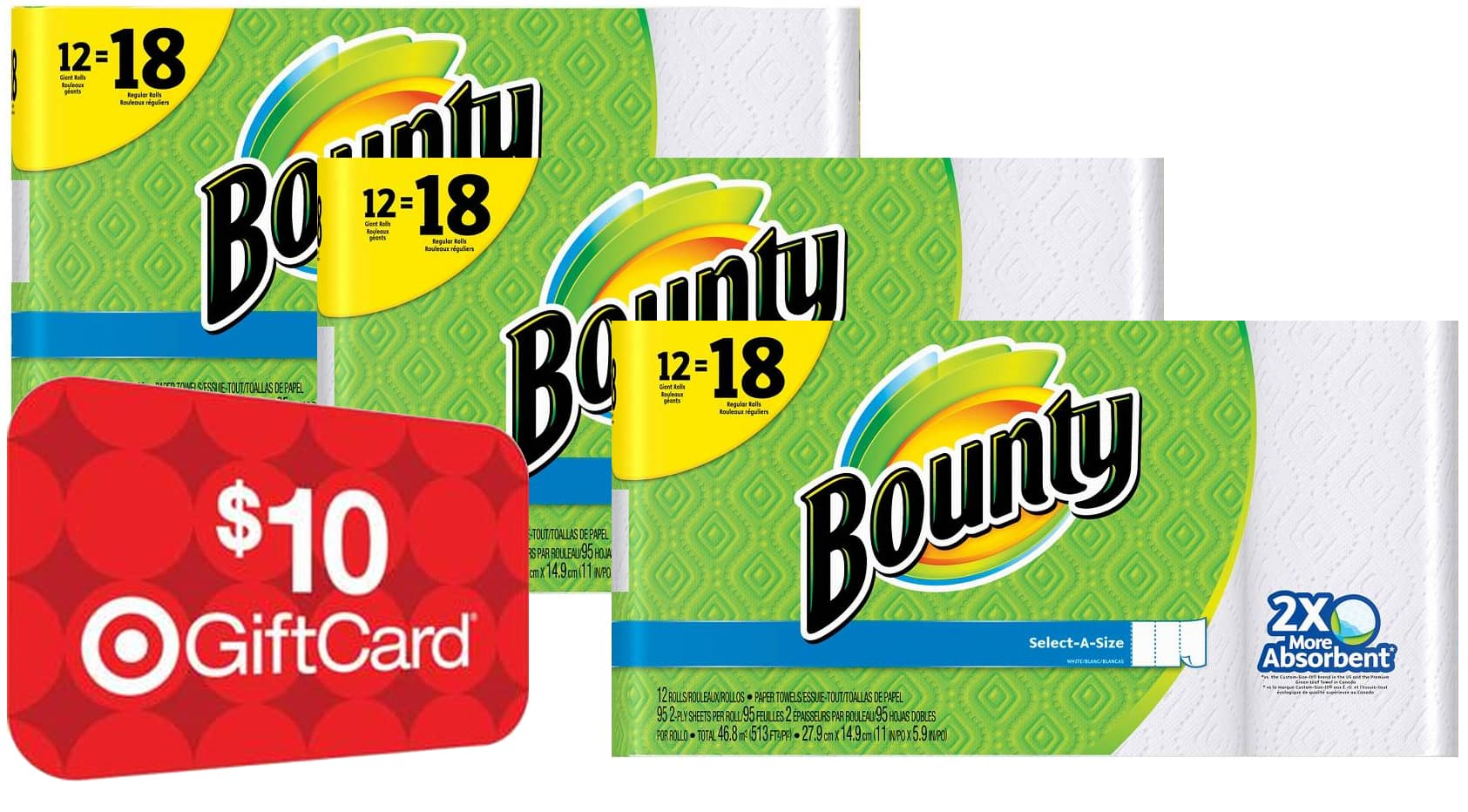 36-Ct Bounty Giant Paper Towels + $10 Target Gift Card $42.75 or less and More