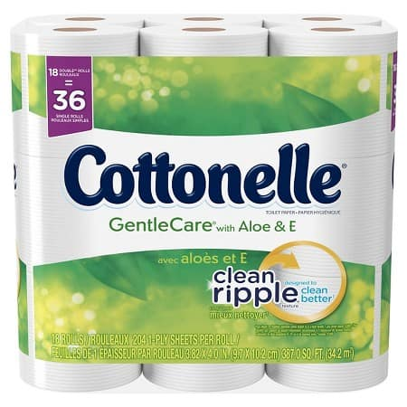2x 18Ct Cottonelle Gentle Care with Aloe & E Double Roll Toilet Paper $18.00 or lower + $5 Target Gift Card