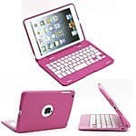 SUPERNIGHT 135 degree Rotate Protective Aluminum Case Cover with Wireless Bluetooth Keyboard for Apple iPad Mini Tablet.