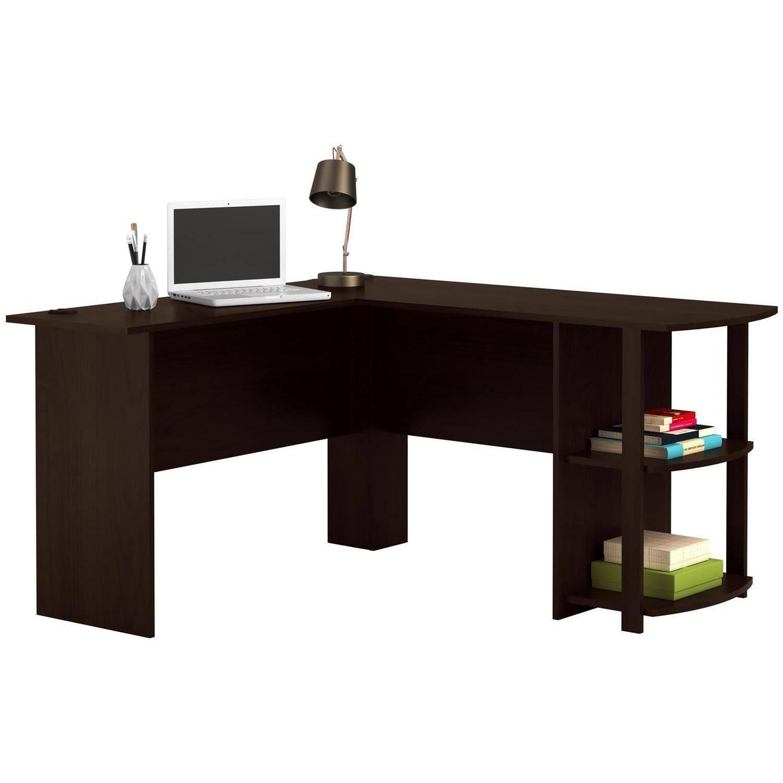 L-Shaped Desk with Side Storage - Walmart - $37.46 w\ Pickup Discount - Dark Russet Cherry