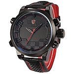 Shark Men's Fashion Leather Sport Watch w/ Digital LED Date & Alarm (Black/Red) - $23.99 AC + Free Shipping @ Amazon
