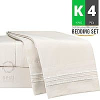 Amazon Deal: NESTL 4 Piece Brushed Microfiber Bed Sheet Set (King, Cream Color) - $18.99 After Coupon + Free Prime Shipping @ Amazon