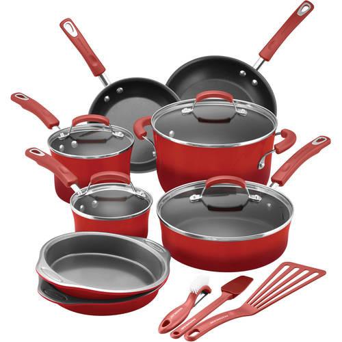 Rachael Ray 15-Piece Hard Enamel Nonstick Cookware Set (Red and Orange) YMMV AmEx $44.99