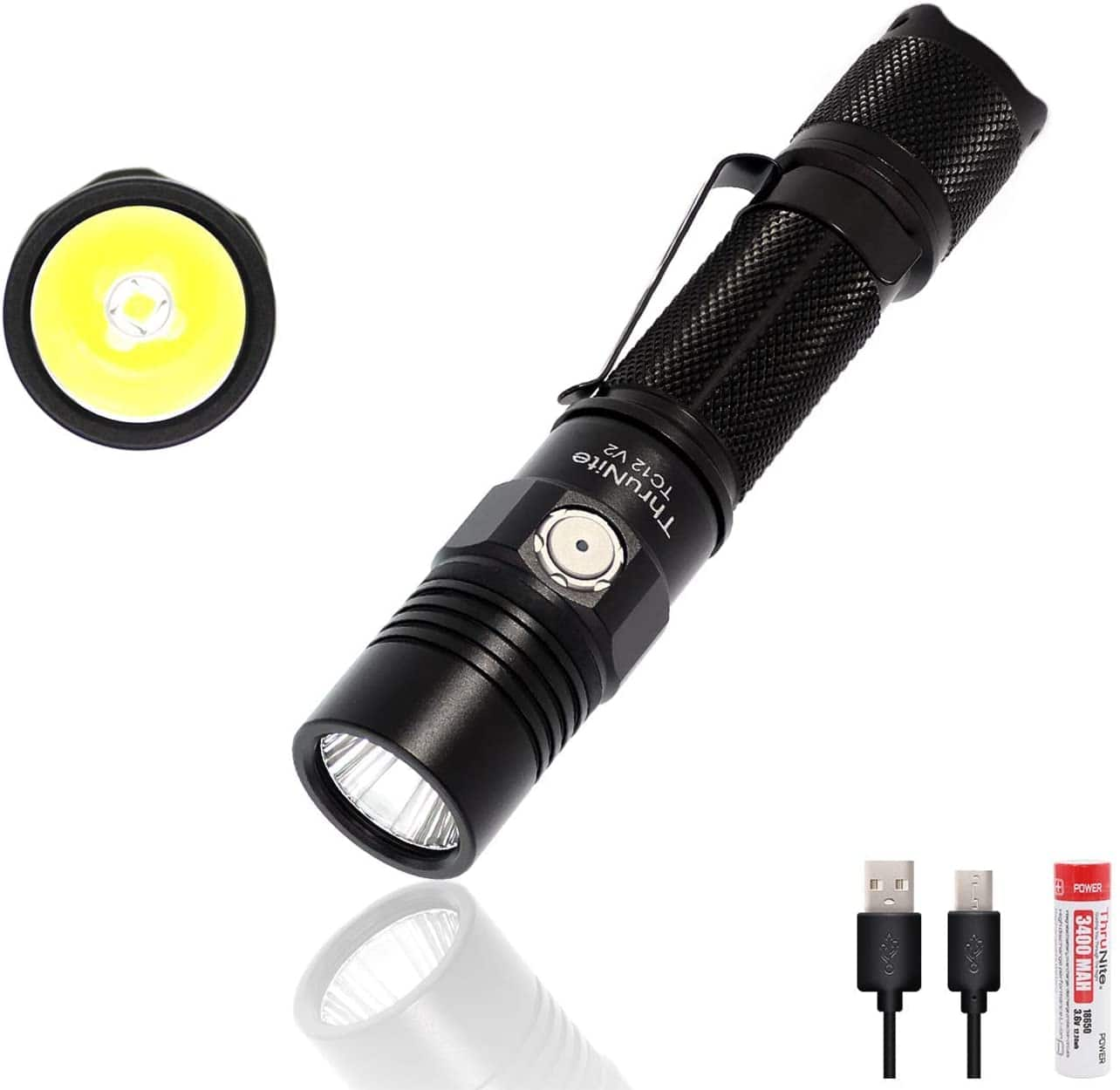 ThruNite TC12 V2 LED (CREE XP-L) Flashlight with Micro-USB Charging 18650 Battery - $40 AC