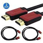 $16.99 2-Pack Insten High Speed HDMI Cable version 1.4 with Ethernet, 6FT 6' RED/BLACK - $5.99