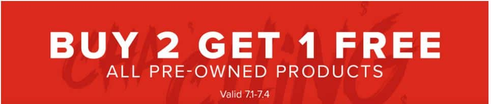 GameStop: buy 2, get 1 free on all pre-owned products and retro games.