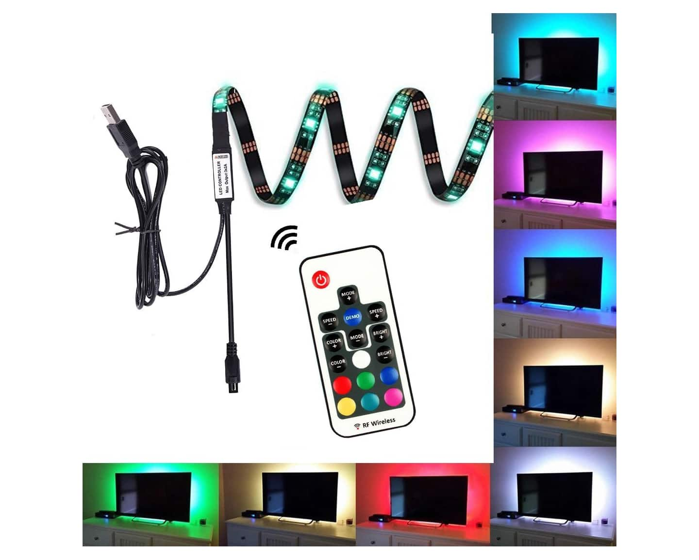 EveShine Bias Lighting Led Strip Lights for HDTV with Remote Control $9.79