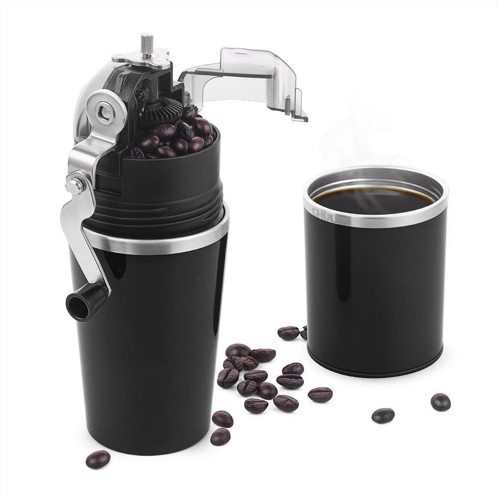 Portable Coffee Grinder Mill,Adjustable Ceramic Burr-Black- $21.99