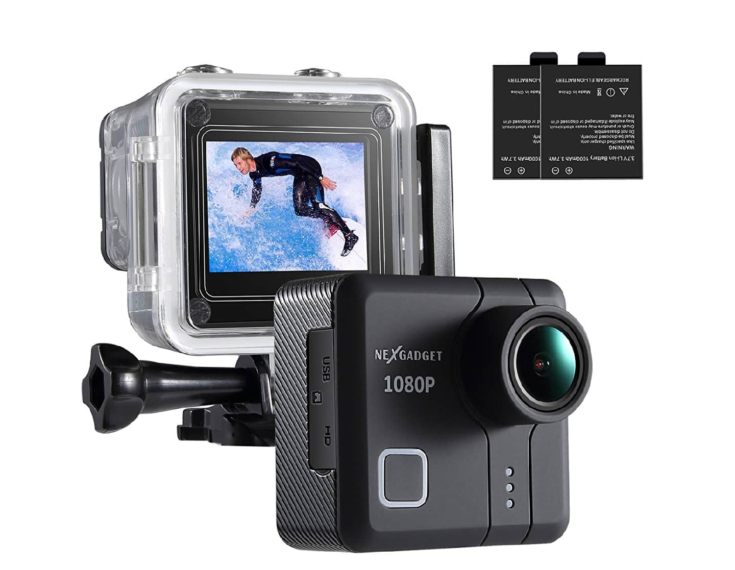 1080P 14MP Action Camera with 170 Wide Angle Lens Waterproof W/2 batteries $23.9 AC FS