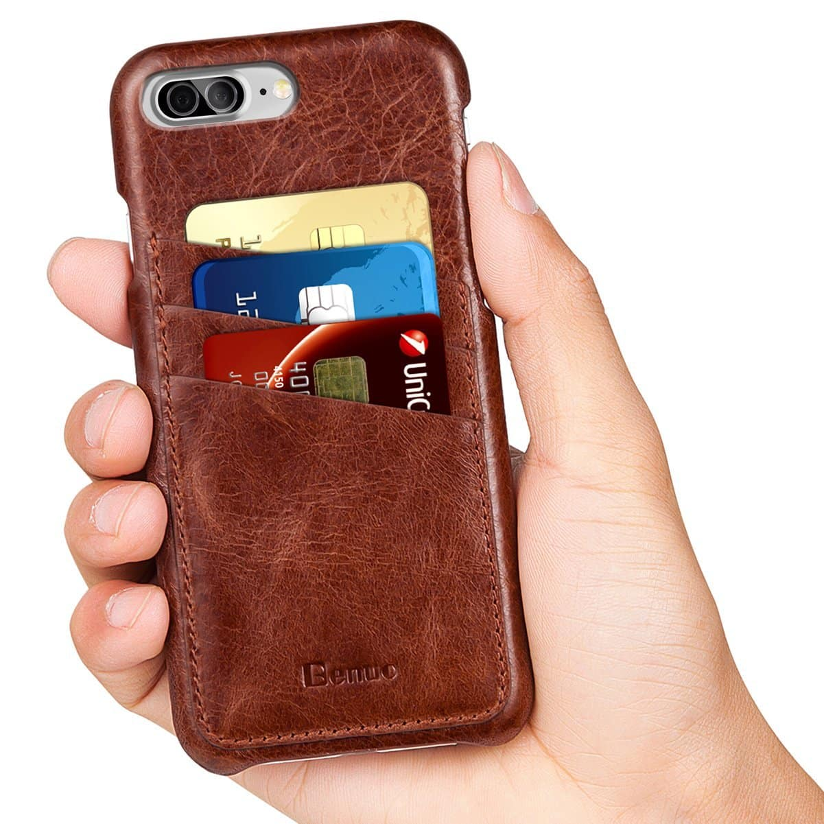 63% OFF $7 iPhone 7/7Plus Benuo Genuine Leather Card Case with Card Slot Vintage Series + FS w/ Prime