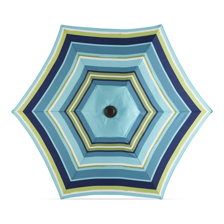 Lowe's Clearance Garden Treasures Blue Multi-stripe Market 7.5-ft No-tilt Round Patio Umbrella with Dark Brown Steel Frame $12 YMMV