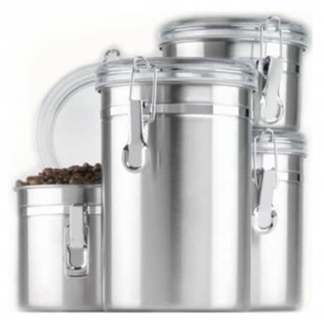 $17.49 Anchor hocking 4pc stainless steel canister set w/ clear lid <--- use code ware75 for up to 75% off select items