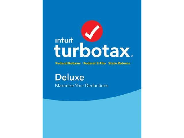 TurboTax Deluxe 2017: Federal + Fed Efile + State (PC/Mac Disc) $35.87