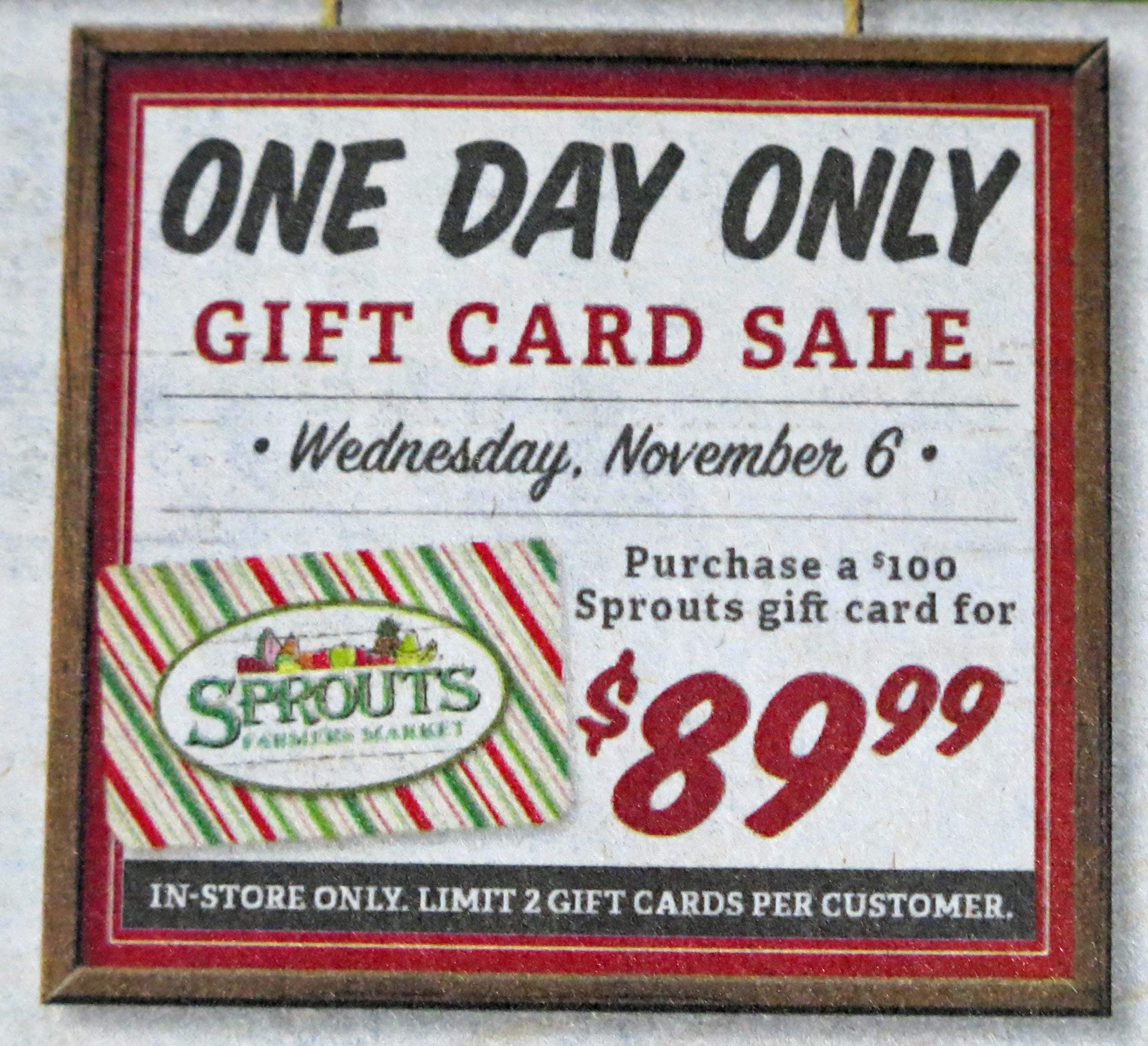 Sprouts Farmers Market $100 Gift Card for $89.99 (on 11/6/19 only)