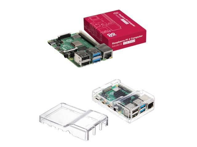 Raspberry Pi 4 Model B (2GB) with Vilros Clear Case with Two Covers $46 + Shipping