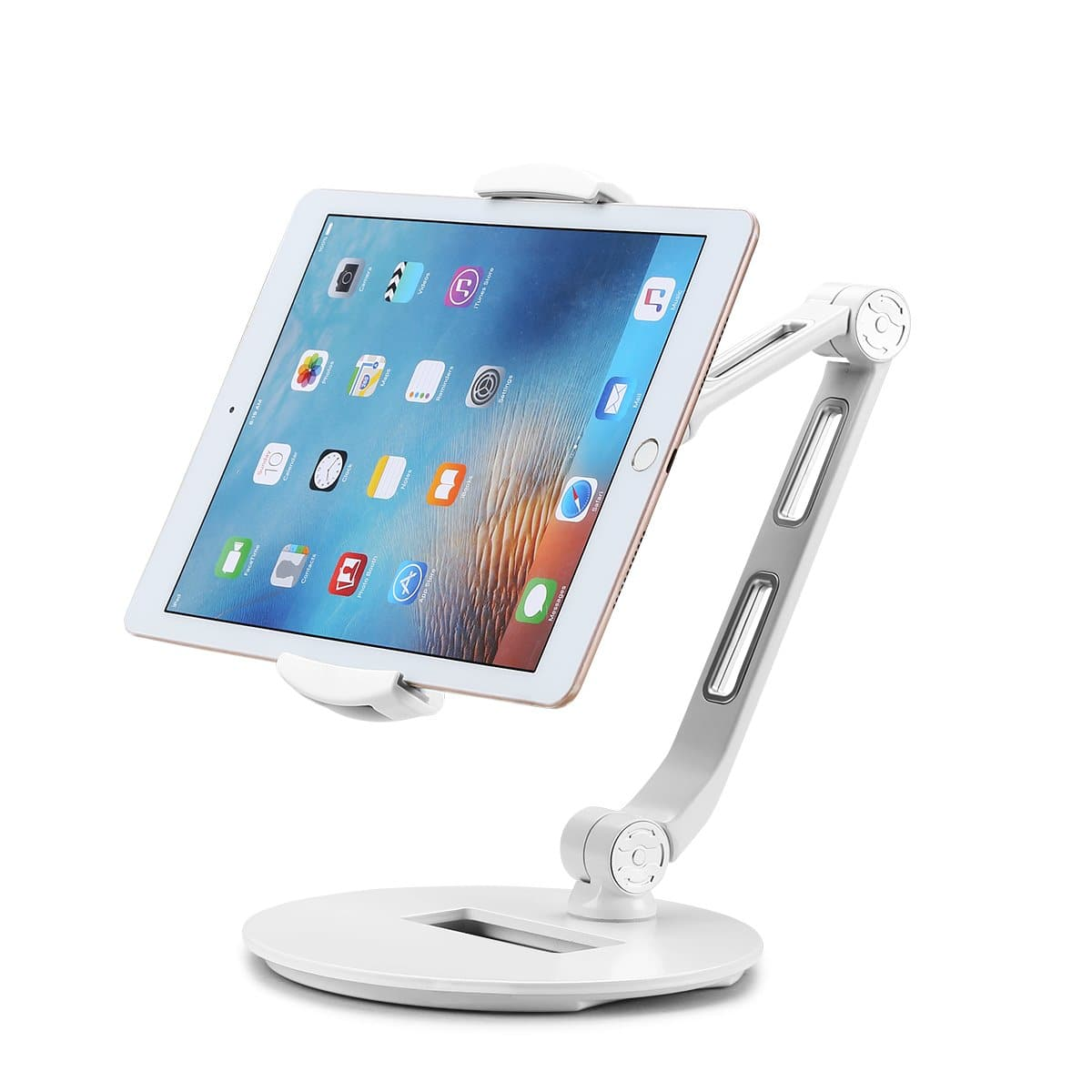 Flexiblle Aluminum Tablet Desk Stand for iPad, iPhone with full 3 axis rotation  $22.99 Amazon
