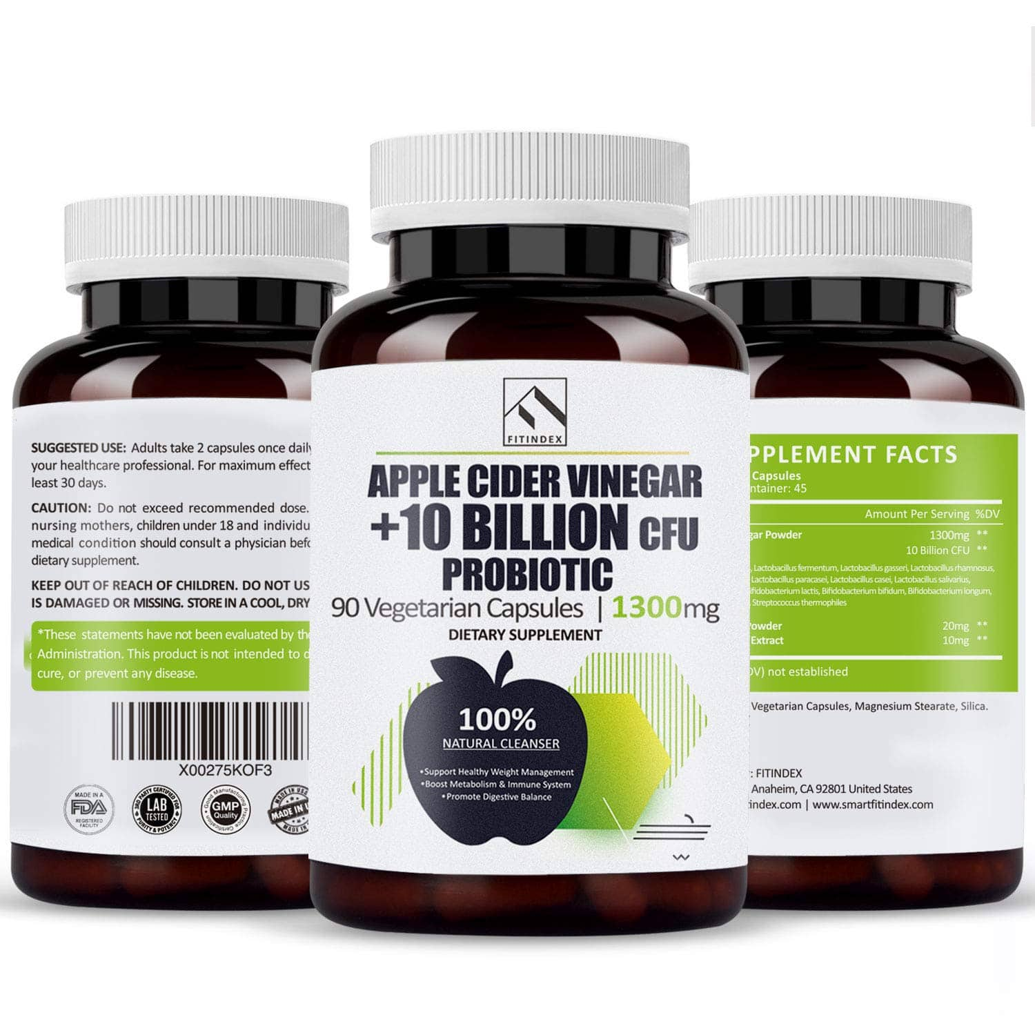 Organic Natural Raw Apple Cider Vinegar Capsules 90 with Probiotics 10 Billion CFU Detox Cleanse for Women Men $9.99 ~10.99 ac
