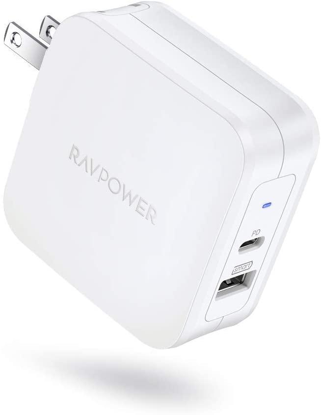 RAVPower Amazon Renewed 2 PORT 61W PD USB C / USB A 12W Power Adapter, $13.99 NOW 16.99