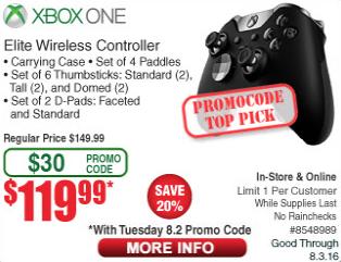 Xbox Elite Wireless Controller - Fry's $119.99 w/ Promo Code