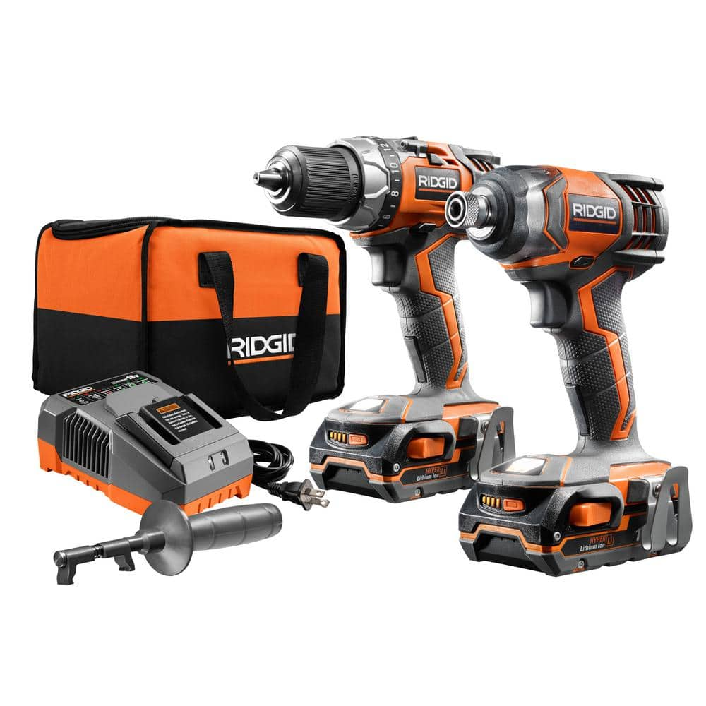 Home Depot $149 RIDGID 18-Volt Lithium-Ion Cordless Gen5x Brushless Drill/Driver and Impact Driver Combo Kit w/(2) 1.5Ah Batteries, Charger and Bag
