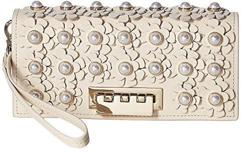 ZAC Zac Posen Earthette Wristlet Wallet with Floral Applique $109.99 + fs