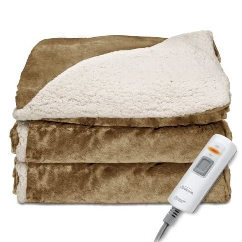 Sunbeam Reversible Sherpa/RoyalMink Heated Throw Blanket $39.99 + fs
