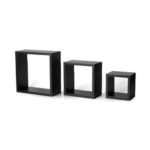 Melannco Square Wood Shelves, Set of 3, Black $16.07