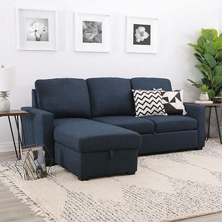 Lincoln Fabric Reversible Storage Sectional with Pullout Bed, Assorted Colors $799