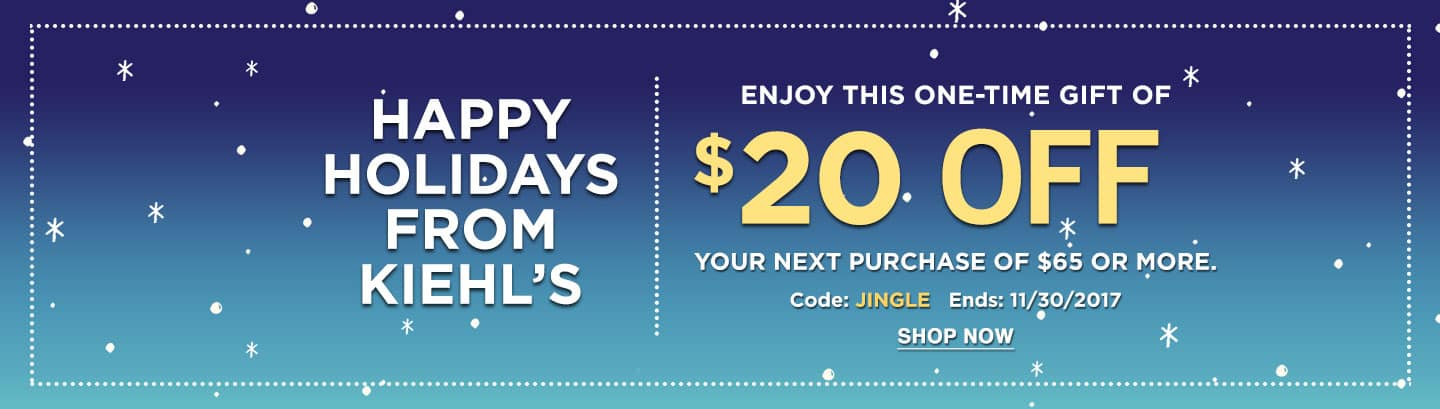 Kiehl's $20 off $65 + FS over $50 or with ShopRunner