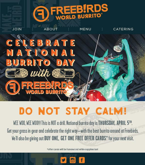 Freebirds - 4/5/2018 - BOGO Offer Cards for National Burrito Day