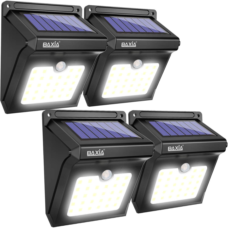 BAXIA TECHNOLOGY BX-SL-101 Solar Lights Outdoor 28 LED Wireless Waterproof Security Solar Motion Sensor Lights, (400LM,4 Packs)  $15