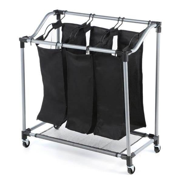 Honey-Can-Do Triple Laundry Sorter with Mesh Bags, Steel/Black $15.44