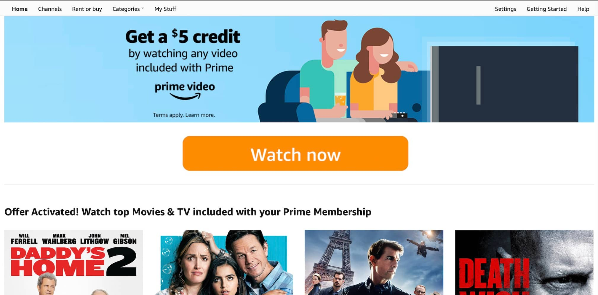 [YMMV] Targeted - Free $5 Credit for watching any video included with Prime $0.02