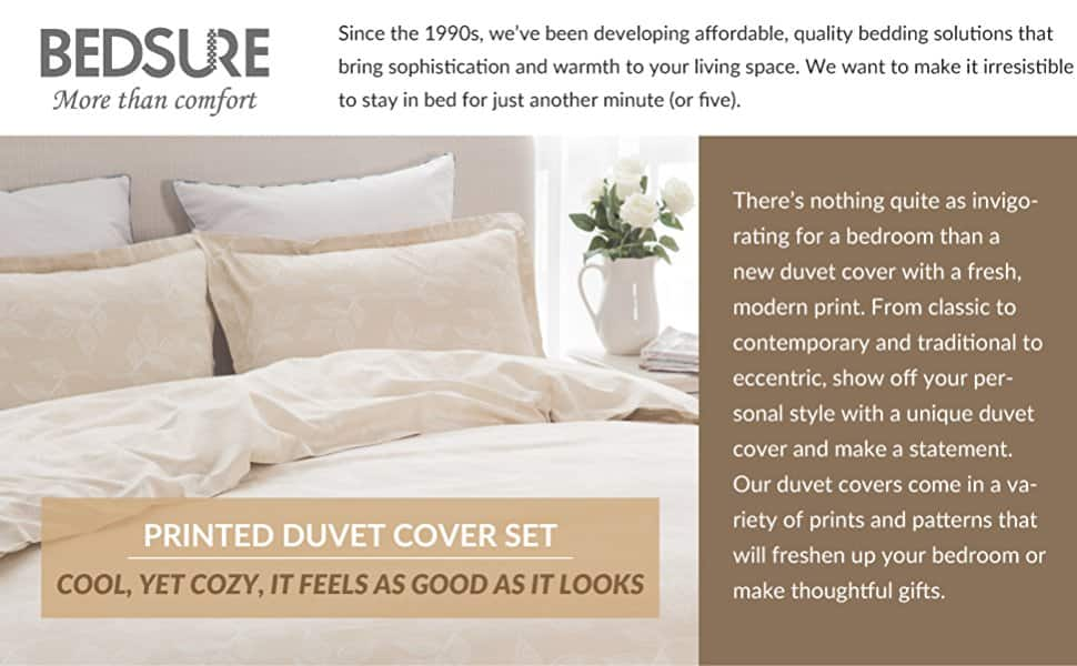 Duvet Cover Set with Zipper Closure-Leaves Camel Printed Pattern,Twin, Queen, King 2 Piece (1 Duvet Cover + 1 Pillow Sham) Ultra Soft Hypoallergenic Microfiber $11.99 $11.97