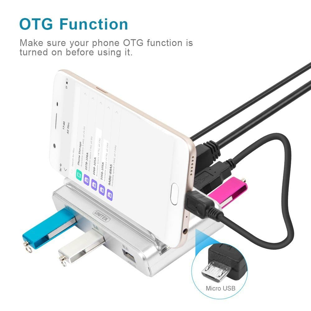 UNITEK Mult-in-1 USB3.0 Smart OTG Charging Dock Data Sync Cradle Stand with 4 Port Hub, 5V4A Power Adapter for Smartphone Tablet iPhone Android $9.49
