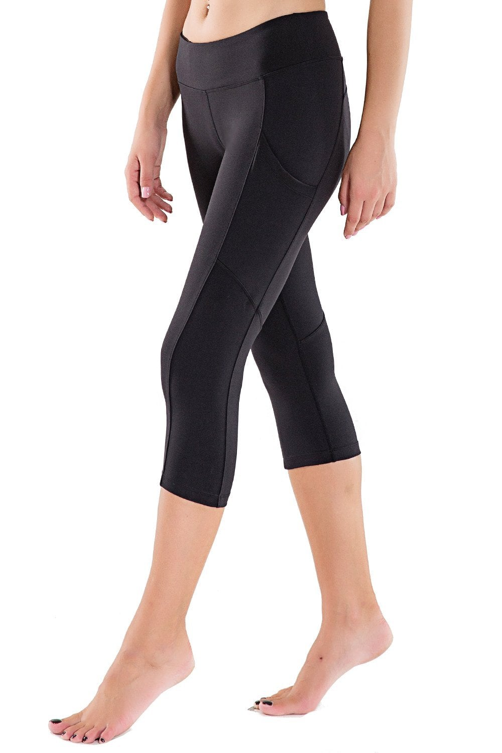 Women's Workout Yoga Capris Running Yoga Pants with Side Pockets  $10.2 AC FS w/Amazon Prime