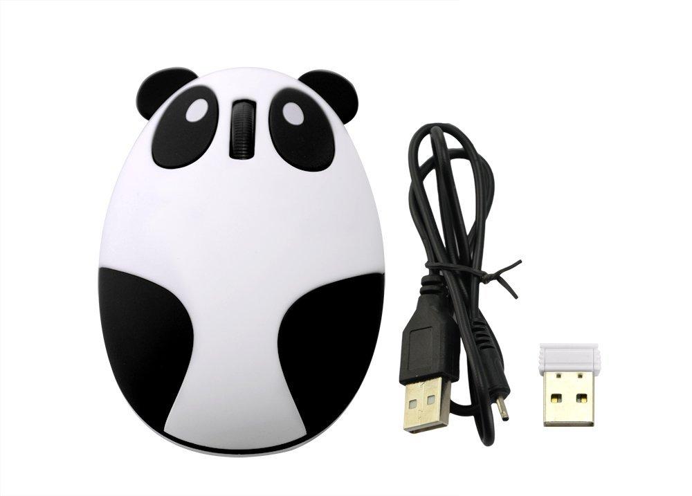 LingsFire Super Cute Wireless Optical Cartoon Panda Mouse Rechargeable Mini 2.4GHz Wireless Panda Desktop Laptop Unique Novel Portable(Black & White) $7.85