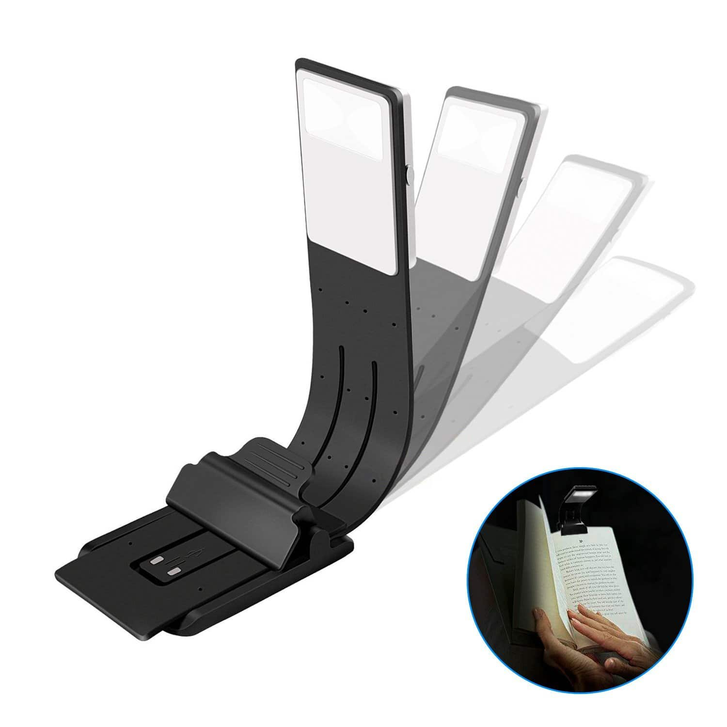 BestFire Book Light, Clip On USB Rechargeable Bed Reading Lights, 4 Level Brightness LED Bookmark for Book, Kindle, iPad (Black) $5.99
