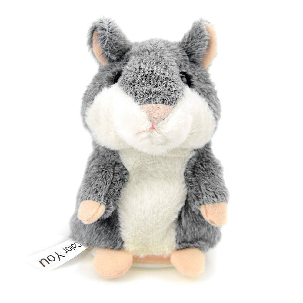 Color You Talking Hamster Repeats What You Say Electronic Pet Talking Plush Toy Buddy Mouse for Kids, 3 x 5.7 inches, Batteries not included, Gray $5.99