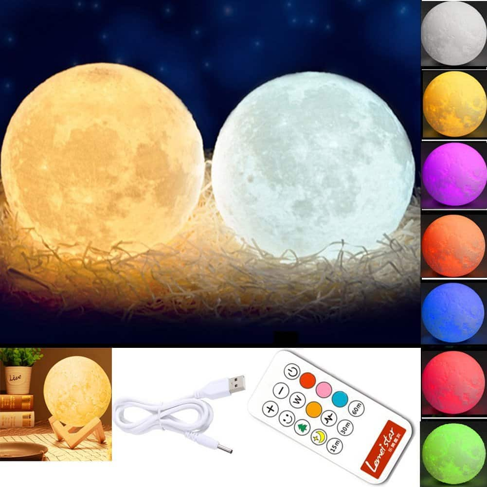 Global-store 3D Moon Lamp Baby Night Light Remote Control, White and Warm White with Adjustable 7 Colors Rechargeable and Timer(5.9Inch) $8.79 $8.8