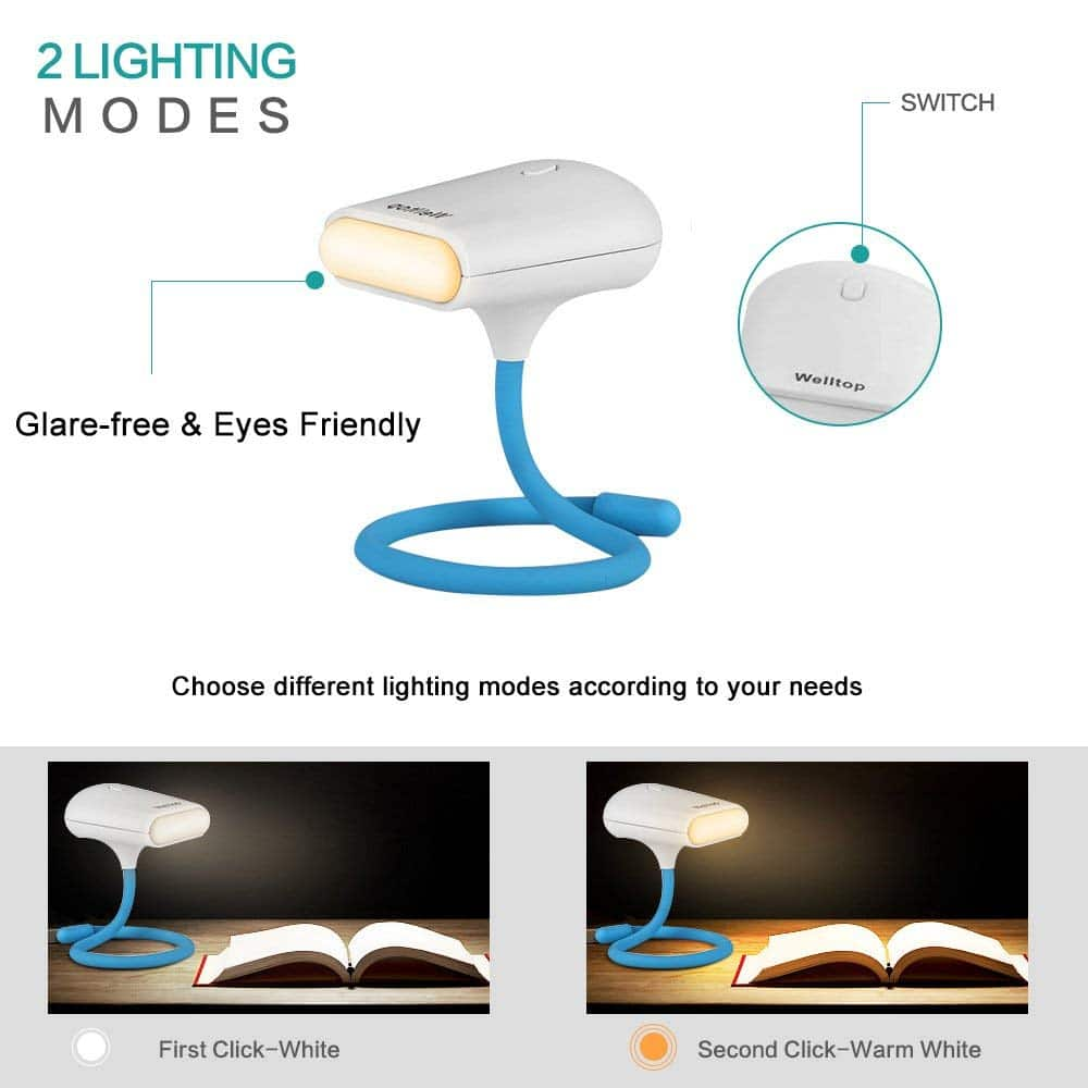 Welltop Led Reading Light USB Rechargeable Table Light Eye-caring Book Light Portable Clip Light with Bendable Arm for Readers, Kids, Children $4.00