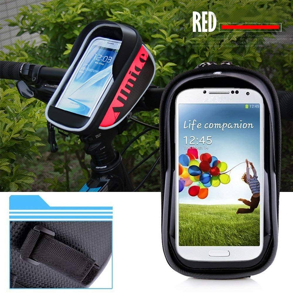 allnice Bike Bag, Waterproof Touch Screen Bike Handlebar Bag Mountain Road MTB Bicycle Front Phone Frame Bag Holder for iPhone 7 Plus 6s 6 plus/Samsung Galaxy Note Cellphone $4.20