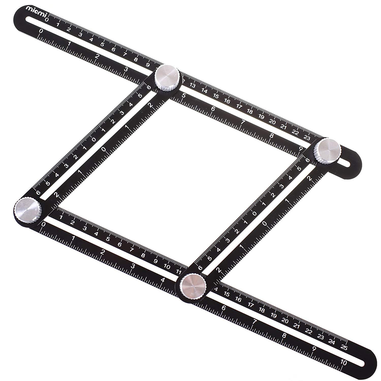 Multi Angel Ruler FULL-METAL Template Tool Made Of Premium Aluminum Alloy - Perfect For Handymen, Builders, Craftsmen, Carpenters, Roofers, Tilers, $5.99