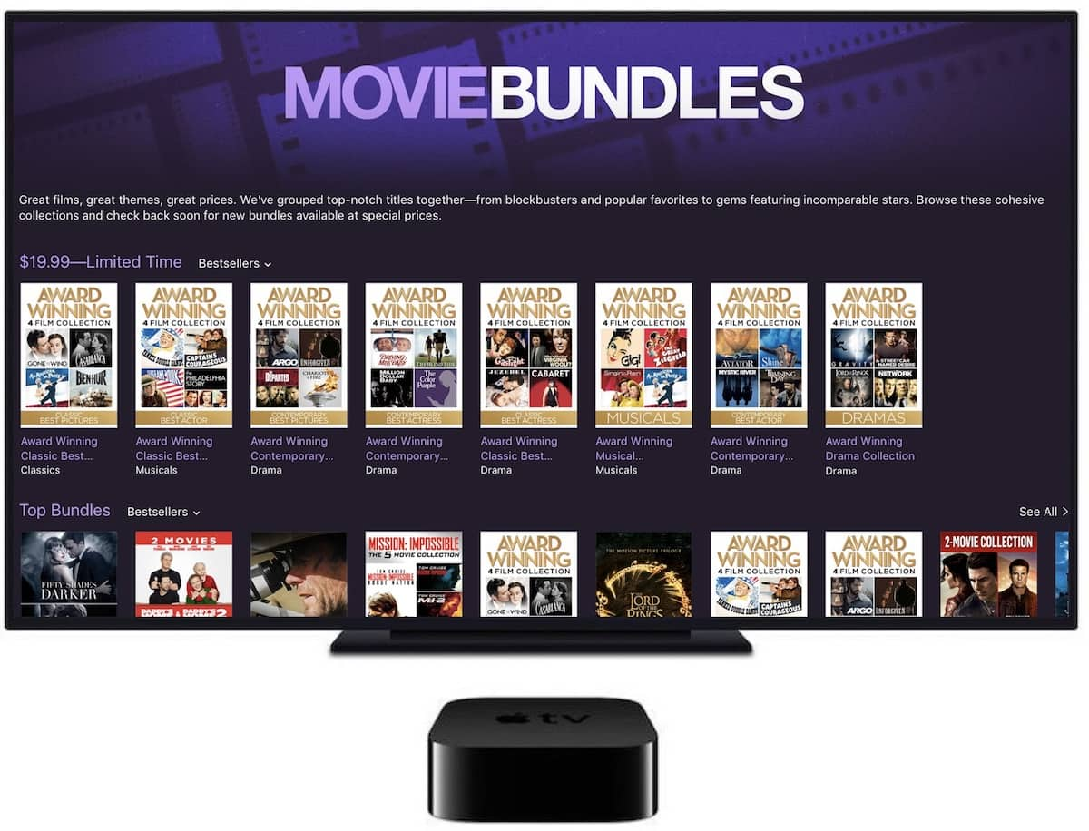 iTunes Award Winning Movies & bundles starting at $6.99