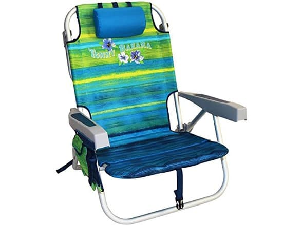 Tommy Bahama 2016 Backpack Cooler Chair with Storage Pouch and Towel Bar ( Green/ Stripe) free amazon prime ship $24.99