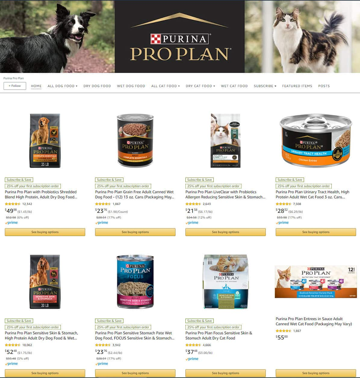 Select Amazon Accounts: Select Purina Pro Plan Dog & Cat Food 25% Off w/ Subscribe & Save $14